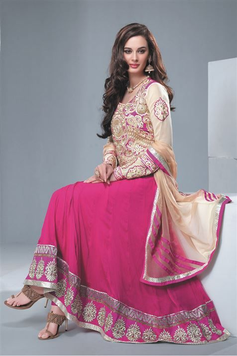 Evelyn Sharma Deep Pink Chiffon Party Wear Anarkali Suit