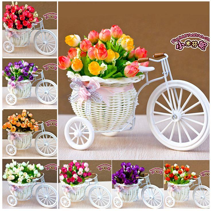 Искусственный цветок набор небольшой трехколесный велосипед победившей украшения дома небольшие украшения из ротанга ваза искусственный цветок