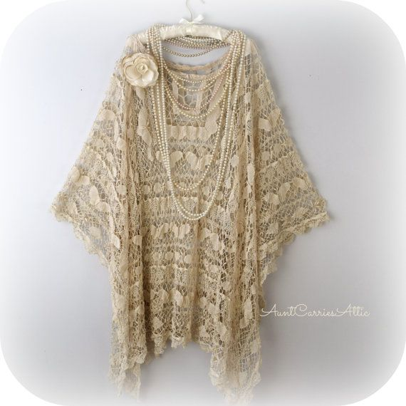 Lace Tunic Shawl Mother of Bride Festival Clothing Hippie Clothing  Gypsy Shawl Bohemian Clothing made from Vintage Beach Cover Up