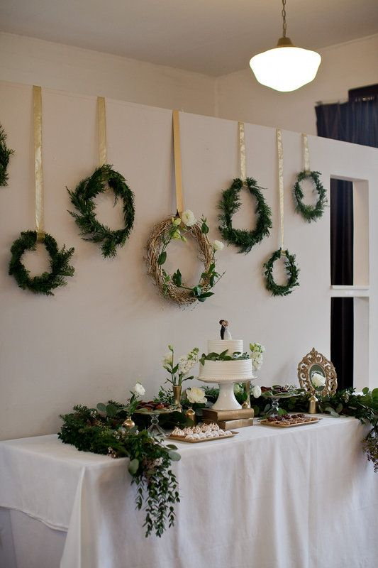 Green and Gold Winter Wedding Inspiration Photo By Jamie Zanotti Photography