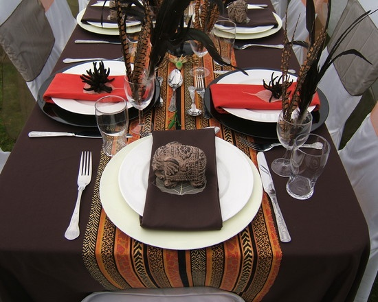 African themed tablescape Love the colors, theme, everything about this table setting. So unique...