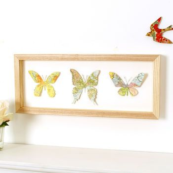 Personalised Map Location Three Butterflies Wall Art