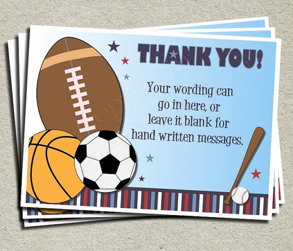 All Stars Sport Thank You Card Sports Theme By
