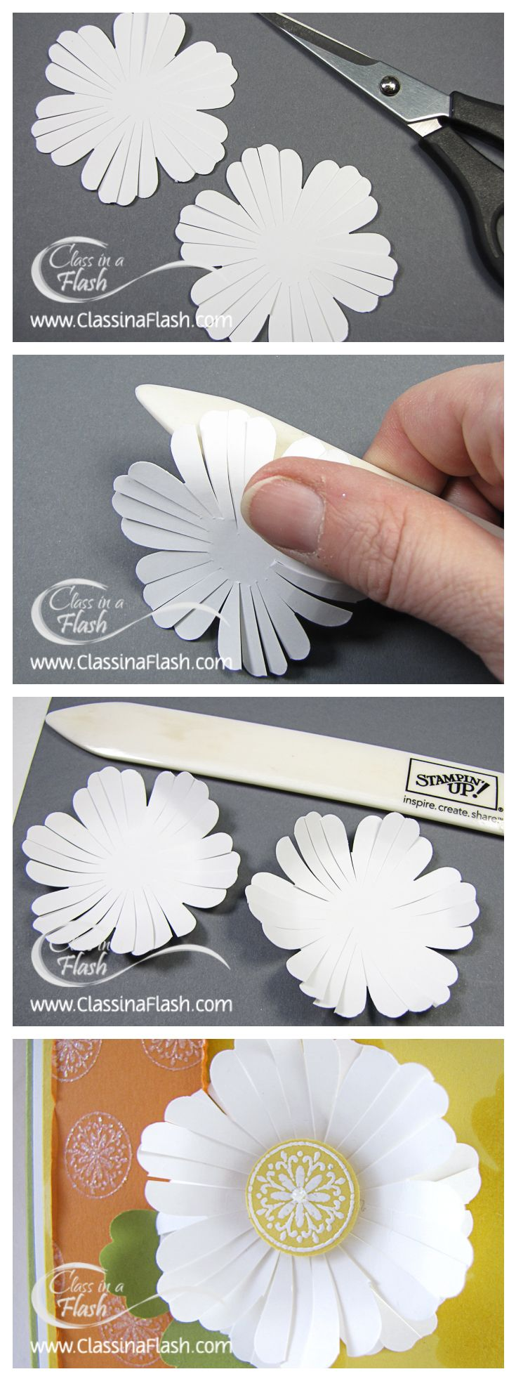 Using a flower punch, cut each bump to look like a petal and bend with your bone folder for an alternative look. (Shade the centre with a light grey colour before adding a button or something similar to look like the centre of the flower... the grey will look like shading underneath it. Mixed Bunch Daisy Tutorial | CraftyPerson Production Store