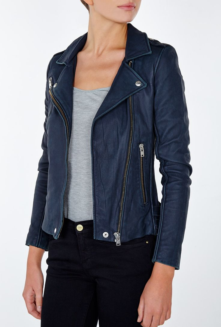Best 25  Navy leather jacket ideas on Pinterest | Blue leather ...