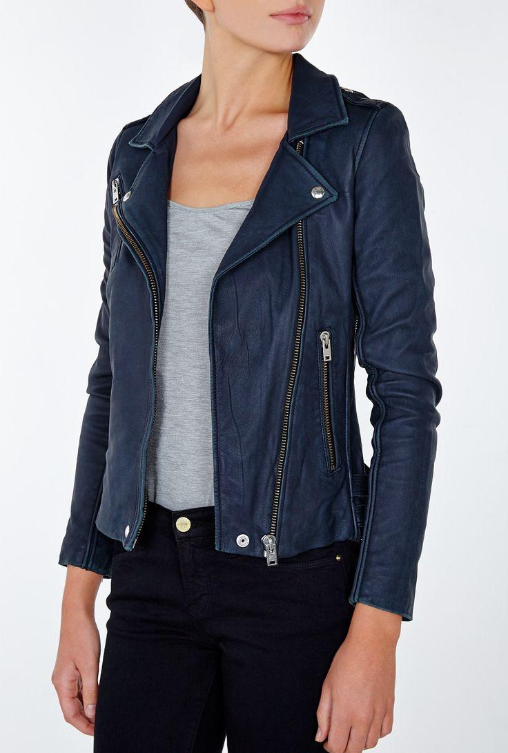 Womens Navy Blue Leather Jacket Fit Jacket