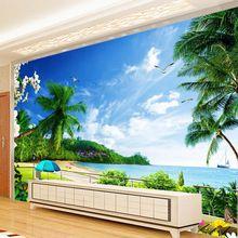 Personalizado 3D Foto Papel De Parede Praia Paisagem Sala de estar TV Fundo Pintura de Parede Revestimento de Parede Papel De Parede Decoração Moderna Murale(China (Mainland))