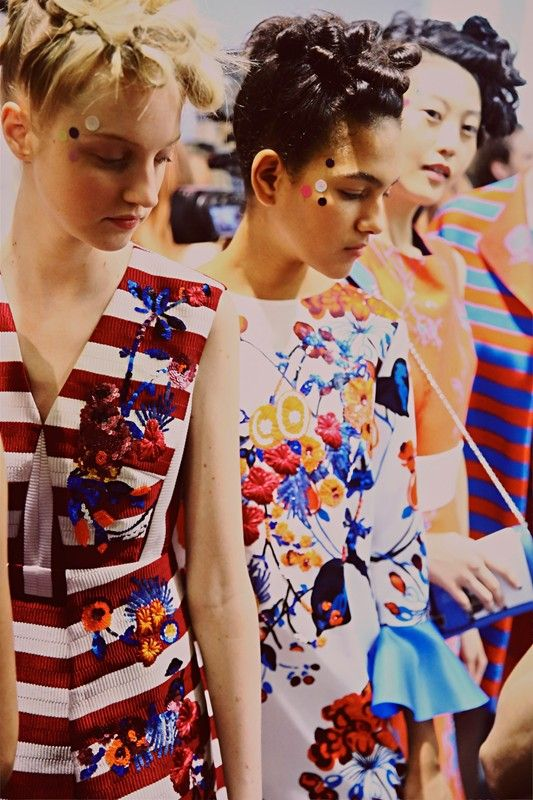 Bright embroidery and polka dot make up backstage at Antonio Marras SS15 MFW. More images here: http://www.dazeddigital.com/fashion/article/21851/1/antonio-marras-ss15