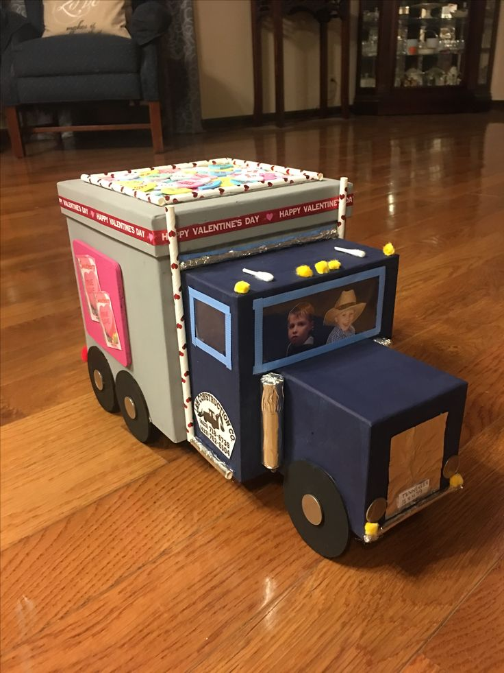 Valentine's Day dump truck box made from 3 different sized gift boxes