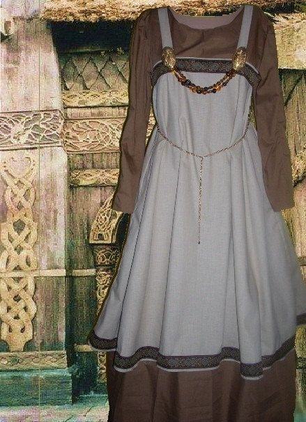 SCA Garb Tan Linen Norse Viking Apron Overdress w Chocolate Cotton Kirtle LXL. $68.00, via Etsy.