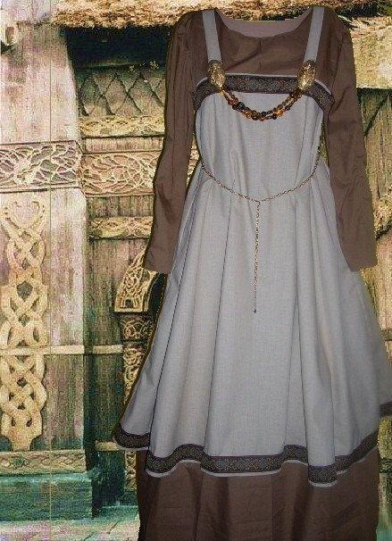 SCA Garb Tan Linen Norse Viking Apron Overdress w Chocolate Cotton Kirtle LXL. $68.00, via Etsy.