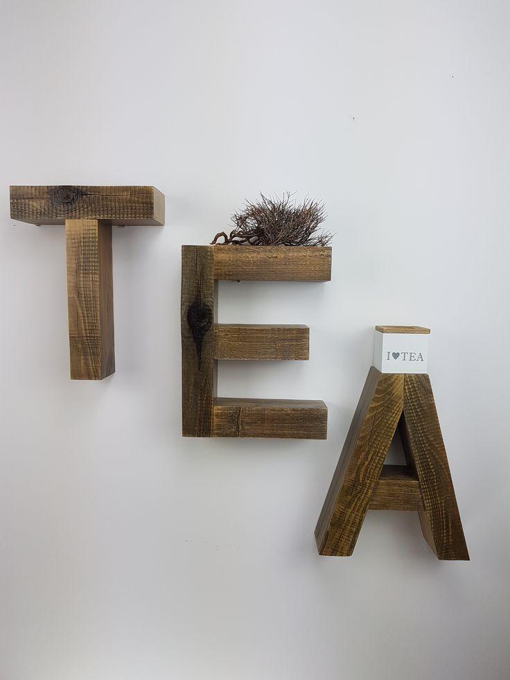 Deko Regal EAT Oder TEA Einzelstck Unikat Wand Raumdeko Wohnzimmer Flur