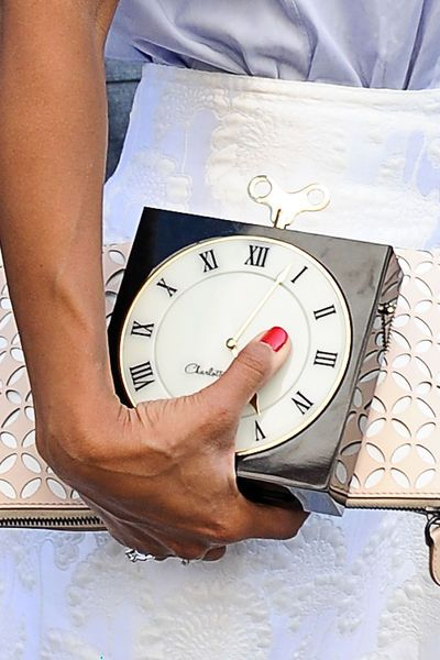 Charlotte Olympia Clock Clutch Streetstyle NJFW FW 2013/14