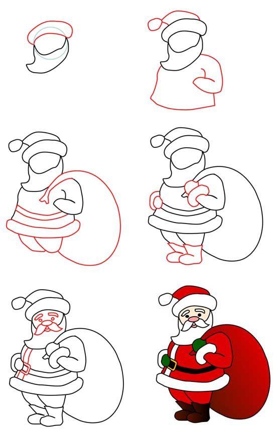 Как на нарисовать открытку на деда мороза