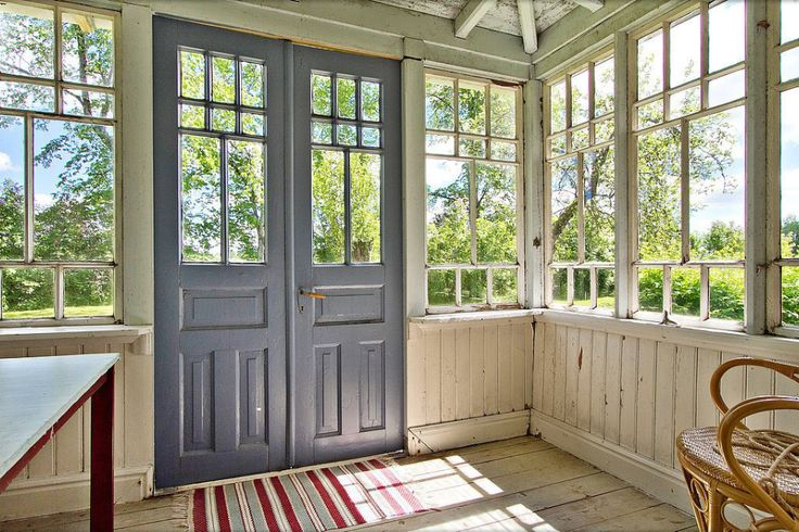 Inside an old Swedish glassed porch