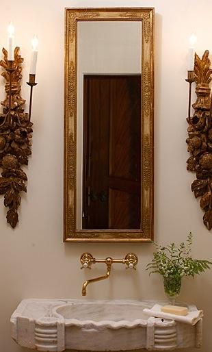 beth webb bathroom design, gilded mirror and sconces