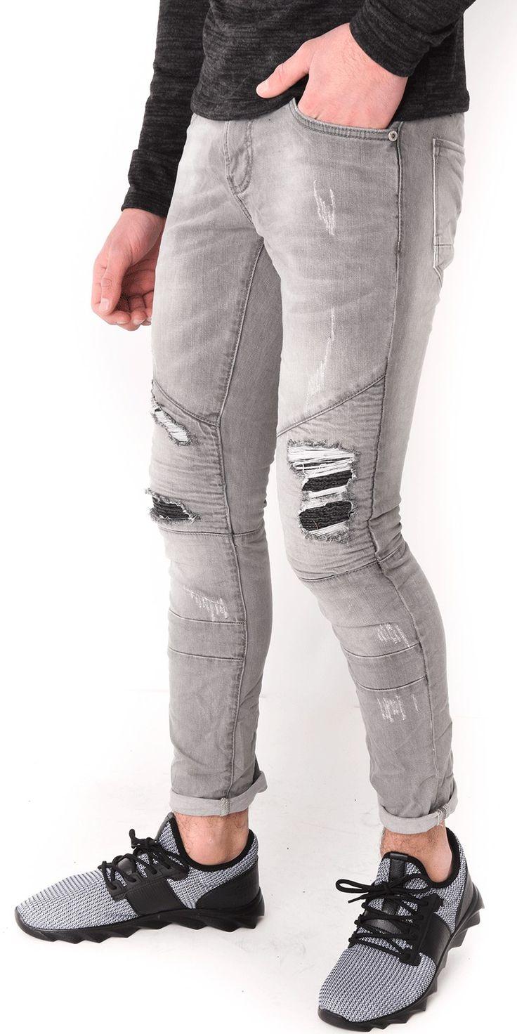 Jeans homme motard destroy