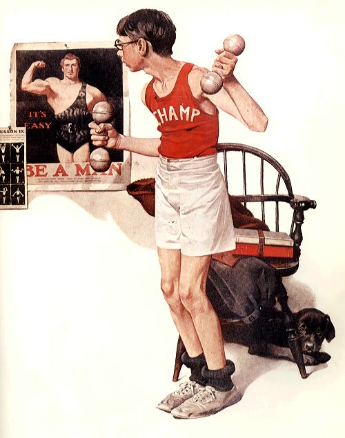 Bill Gates, jeune, s'entrainant pour défier Mr IBM! Google Image Result for http://arts-wallpapers.com/wallpaper/norman_rockwell/painting/norman_rockwell_bodybuilding_1922.jpg