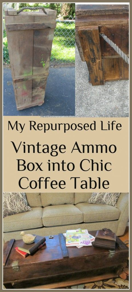 My Repurposed Life-Vintage Ammo Box -Chic Coffee Table (HoH157) I have four of these. I'm gonna make a coffee table outa one of them!!!!