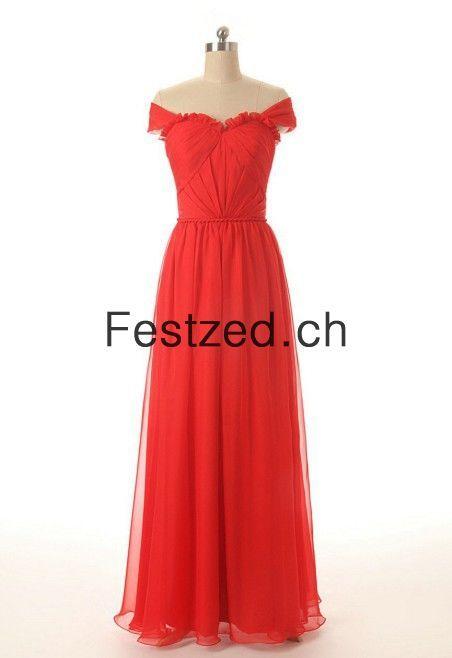 Herzausschnitt A-Linie Lang Rot Chiffon Abendkleider