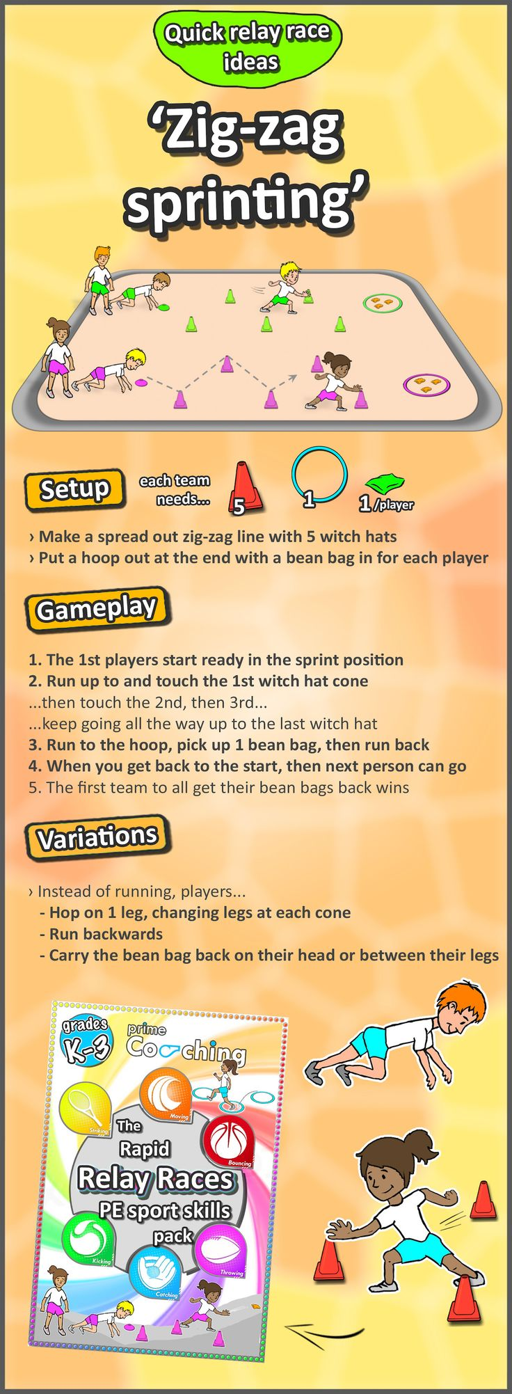 • Zig-zag sprinting • Work on the fundamental gross-motor movement with this fast-faced relay race PE variation your class will love! Try out the 25 different sport skill variations we have!