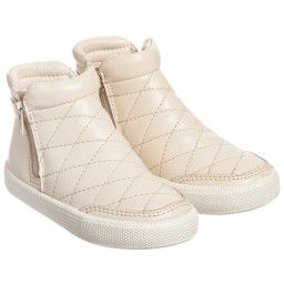 Old Soles - Metallic Pearl Quilted Leather 'Daley' Zip Trainer Boots  | Childrensalon