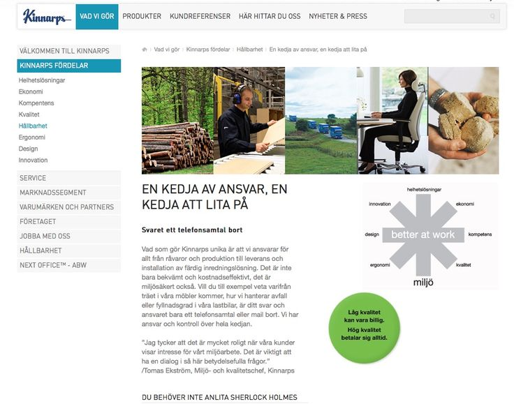 Kul ambition hos Kinnarp AB Notera stavningen i vänster panelen.