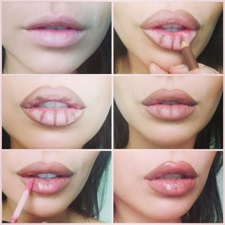 Small to juicy lips tutorial. Rimmel 1000 kisses liner in tiramisu and MAC plushglass lipgloss in ample pink.