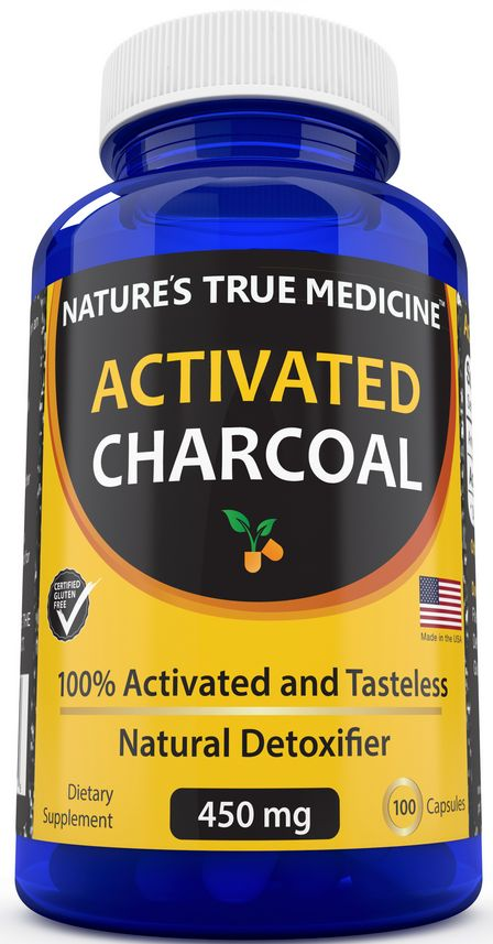 Best Activated Charcoal Capsules - 100% Pure, Fine, and Tasteless - 450 MG supplement -Detox Naturally and Safely. Reduce gas, bloating, and indigestion - USA Made. Non-GMO pills, no gluten from Natures True Medicine