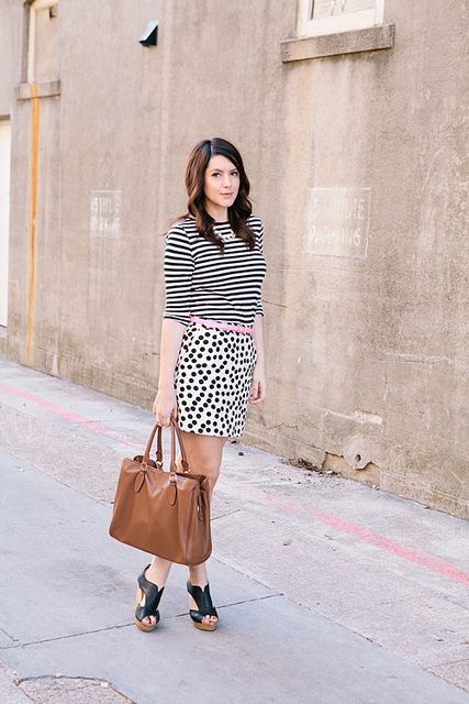 mixed black and white prints with pop of pink