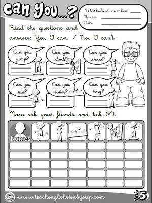 Abilities - Worksheet 5 (B&W version)