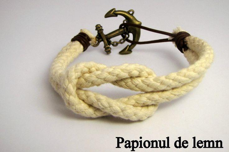 Handmade Bracelet Navy Square Knot 3 :: Papionul de lemn