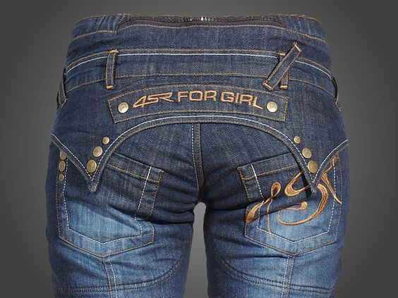 4SR kevlar Jeans Lady Star Exposed spots (knees, hips and bottom) are extra thickened with kevlar fabric. If your going to ride, these are the best jeans a girl can have.: