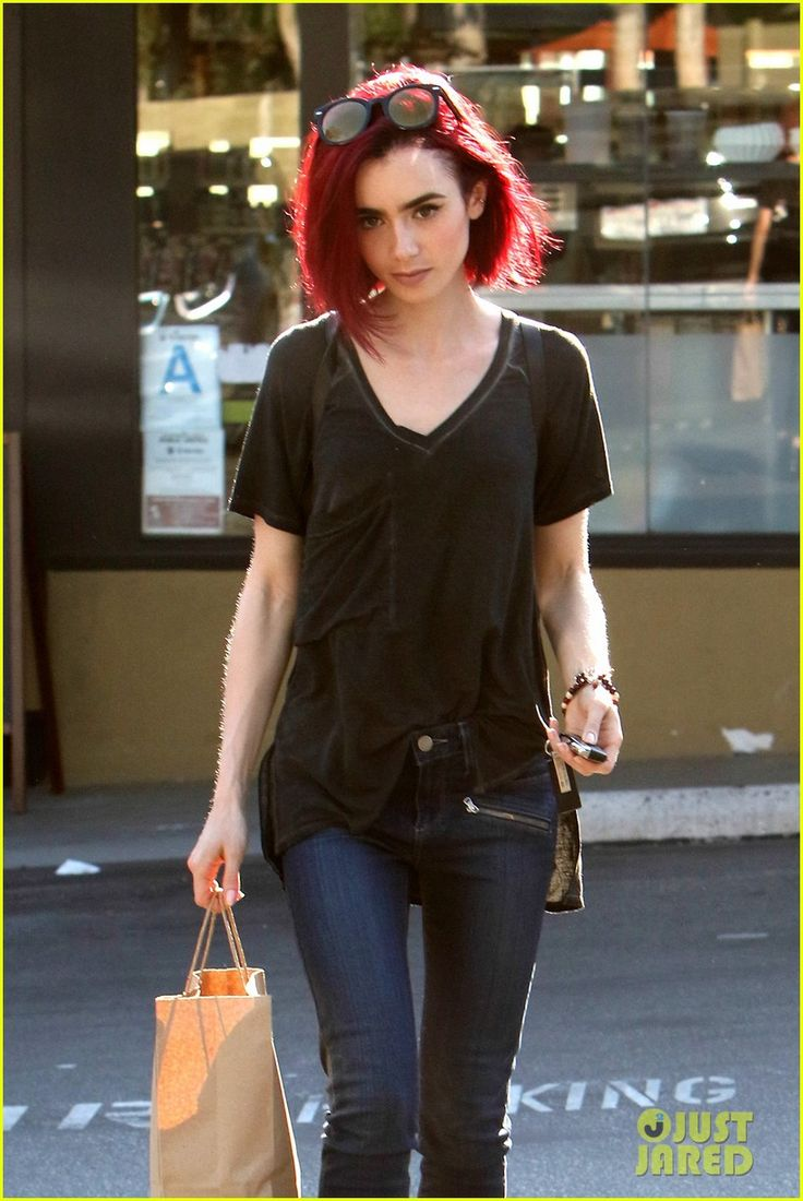 lily collins debuts new bright red hair 07
