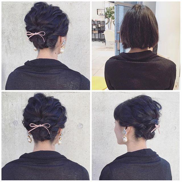 #mulpix hairarrange♡ 右上Before♡ ボブでも出来ます♡ #hairarrange #ヘアアレンジ #結婚式 #ウエディング #髪型 #ボブアレンジ #ボブ #東京 #表参道 #青山
