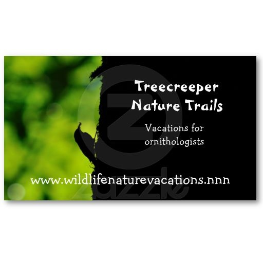 Nature And Wildlife Business Card With A Silhouette Of Treecreeper In Green Black