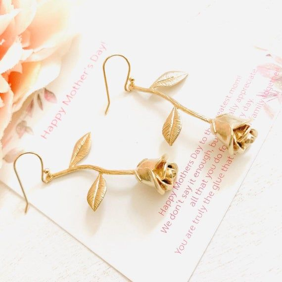 Mothers Day Gift Rose Flower Earrings Rose Gold Flower Earrings Mother Day Jewelry Bridesmaid Gifts Floral Bridal Earrings Mom Gifts Bridesmaid Gifts Bridal Earrings Gold Flowers