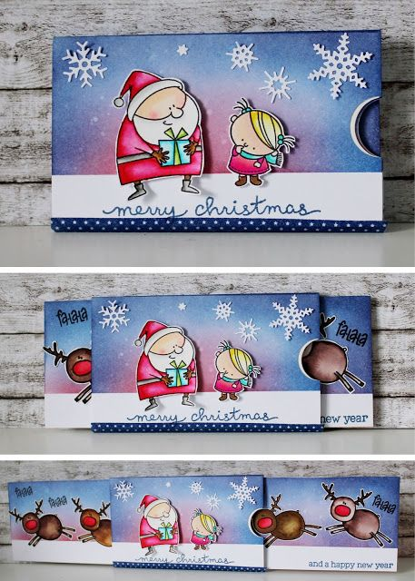 Schieberkarte, Karte, Weihnachten, Pullcard, Mft Stamps, Weihnachtsmann