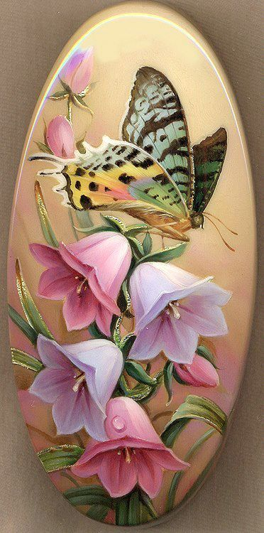 "Russian LAQUER BOX ART - ""Butterfly on the Bellflower"" by Fedoskino painter…"