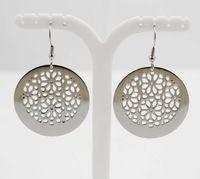 Estilo 2015 de la joyería de acero inoxidable 316L plata pendientes grandes para mujeres con el modelo de flor pendiente de gota redonda