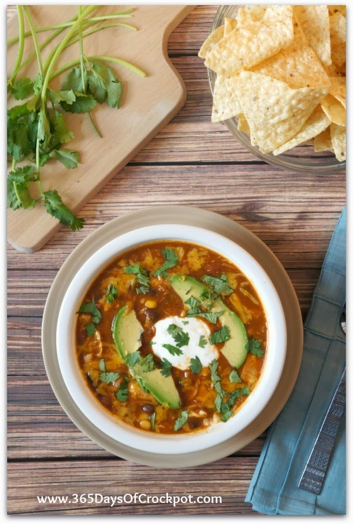 Crockpot Recipe for Chicken Enchilada Soup #crockpot #soup #slowcooker