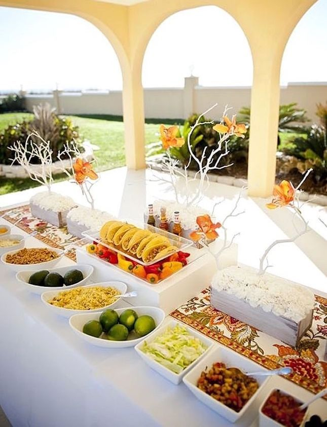 This elegant spread is EXACTLY what you want your taco bar to feature at your wedding.