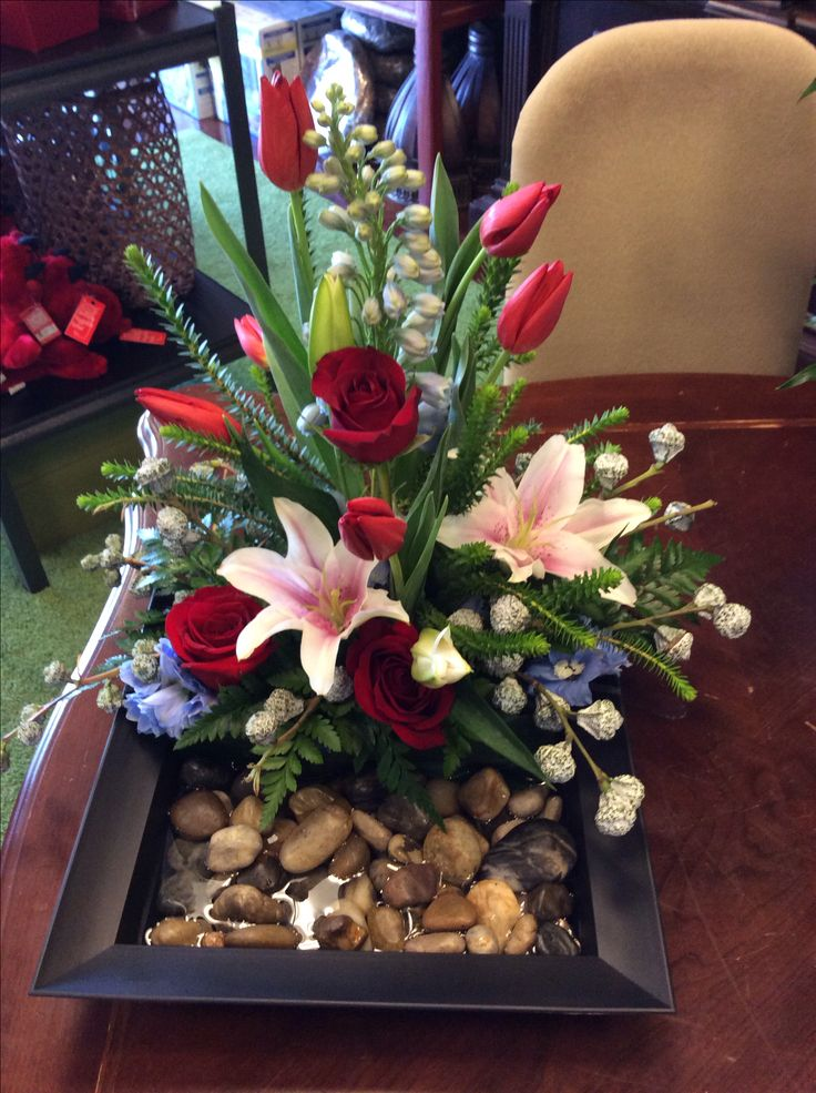 Interesting way to set an arrangement in a container