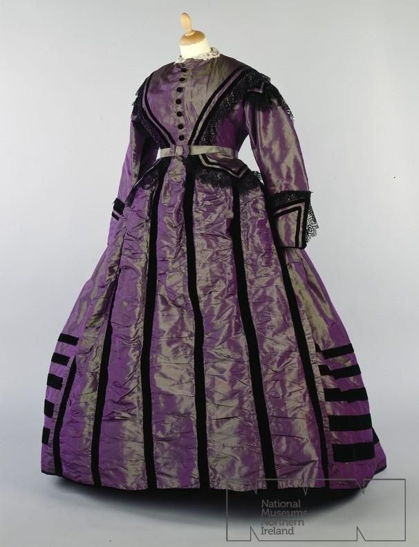 1880's - Bottle green watered silk dress with black velvet trim. National Museums Northern Ireland (The color and trim on this are among my favorites of Victorian dresses I have collected here)