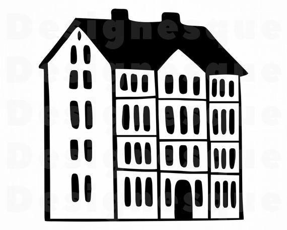 Apartment Building Svg House Svg Apartment Building Clipart Etsy Building Silhouette Svg House Clipart