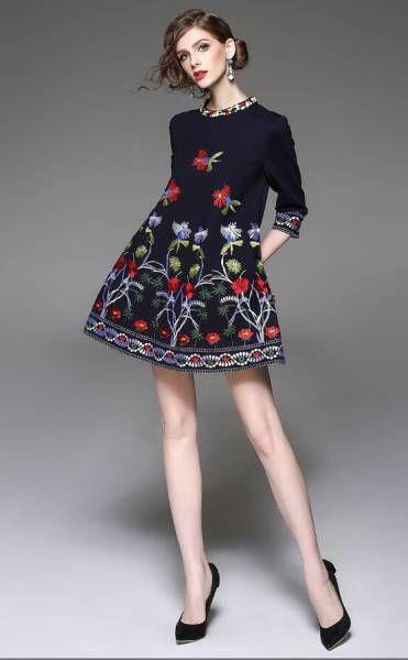結婚式◆パーティー◆お出かけ◆二次会◆気品溢れ◆花柄◆刺繍◆ドレス◆ワンピース◆ブラック◆S~2L_画像1