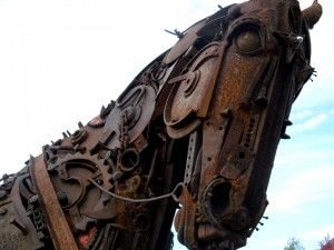 HORSE SCULPTURE FROM RECLAIMED ITEMS