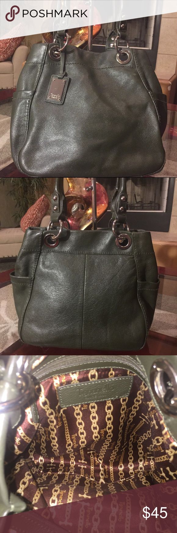 Leather Tignanello Handbag Gorgeous leather Tignanello shoulder bag in great condition. This is a spectacular olive color. Tignanello Bags Shoulder Bags