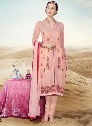 Precious Peach Thread Work Georgette Churidar Suit http://www.angelnx.com/Salwar-Kameez/Churidar-Suits
