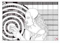 La comunicación. La obra representa el esfuerzo humano e intelecual que hubo que lograr para quela sencillez e inmediatez de enviar un mensaje ocurriese. Está realizada en papel y tinta. Dos elementos básicos del dibujo. Estos esbozos detallados, representan el estudio anterior a la ejecución de obras pictóricas, artísticas y arquitectónicas, según el caso. El artista representa en ellas la geometría implícita en todo lo que nos rodea.